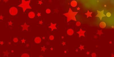 hellorange Vektormuster mit Kreisen, Sternen. vektor