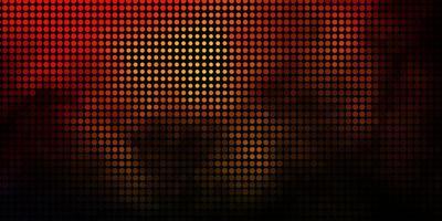 mörk orange vektor bakgrund med cirklar.
