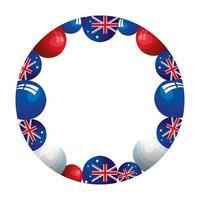 ram cirkulär med ballonger helium med flagga australien vektor