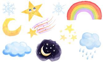 Vattenfärg himmel vektorer