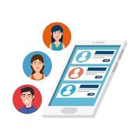 Smartphone-Gerät mit Chat isoliert Symbol vektor