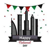 Förenade Arabemiraten nationella dag med stadsbyggnader och banner vimpel vektor design