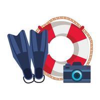 Marine Float mit Kamera Foto und Tauchflossen vektor