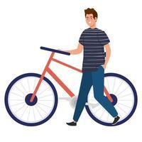 Mann mit Fahrradvektorentwurf