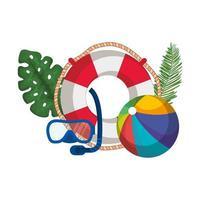 flottör livräddare med blad palm och ballong leksak vektor