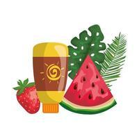 solblockeringsflaska med jordgubbe och vattenmelon vektor