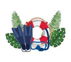 flottör livräddare med palmblad och dykutrustning vektor