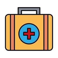 medizinisches Kit mit Kreuzsymbollinie und Füllstilsymbol vektor