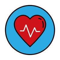 hjärta kardiologi linje och fyll stil ikon vektor