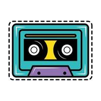 Kassette Pop Art Aufkleber Symbol vektor