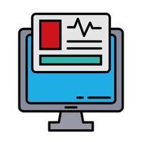 skrivbord med kardiologistestlinje och fyllningsstilikon vektor