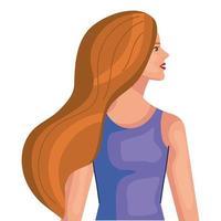 Frauenkarikatur mit braunen Haaren vom Seitenvektordesign vektor