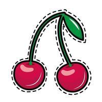 Kirschen Pop-Art-Aufkleber-Symbol vektor