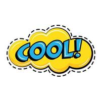 cooles Wort in der Cloud-Pop-Art-Aufkleberikone vektor