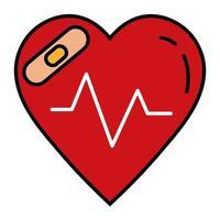 hjärta kardiologi med botemedel bandage linje och fyll stil ikon vektor
