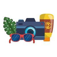 solblockeringsflaska med kamera och solglasögon vektor