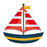 segelbåt resa isolerade stilikon vektor