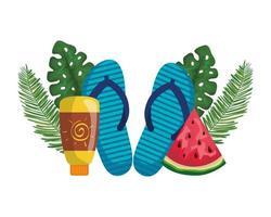 solblockeringsflaska med flip flops och vattenmelon vektor