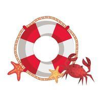 marin flottör med krabba och sjöstjärna vektor