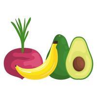 färska grönsaker och frukter hälsosam mat vektor