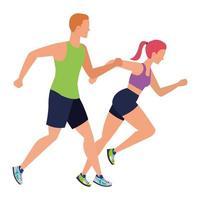 junges sportliches Paar, das Charaktere läuft vektor