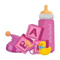 Babymilchflasche mit Spielzeug vektor