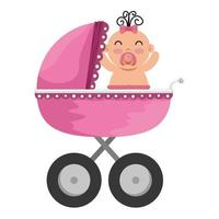 Babywagen mit Charakter eines kleinen Mädchens vektor