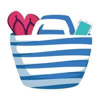 Strandtasche Sommer mit Flip Flops und Smartphone vektor