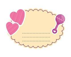 baby shower-kort med hjärta och maraca
