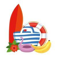 Strandtasche mit Surfbrett und Sommerikonen vektor