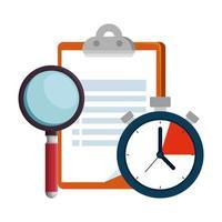checklista urklipp med kronometer och förstoringsglas vektor