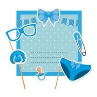 Babypartykarte mit Schnuller und Wäscheklammer vektor