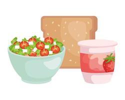 keramisk skål med grönsaksallad och bröd vektor