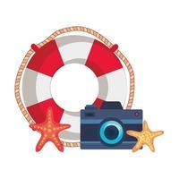 marin flottör med kamerafotografi och sjöstjärna vektor