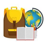 Schultasche mit Weltkarte und Buch vektor