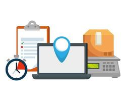 Box Karton und Laptop Lieferung Anwendung vektor