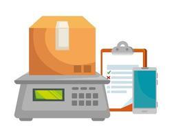 Karton mit digitaler Waage und Checkliste vektor