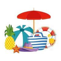 Strandtasche mit Ballon und Sommerikonen vektor