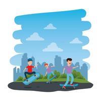 glückliche Jungen im Skateboard auf dem Park mit Straße vektor