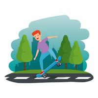 glücklicher kleiner Junge im Skateboard in der Straße vektor