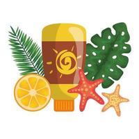 solblockerare flaskprodukt med blad och apelsin vektor