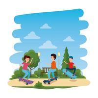 glückliche junge Kinder im Skateboard auf dem Park vektor