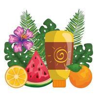 solblockerare flaskprodukt med blad och frukt vektor