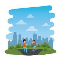 Kinder des jungen Paares im Skateboard auf dem Park mit Straße vektor
