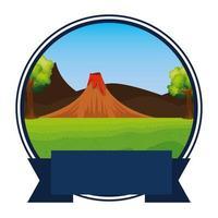cirkulär ram Jurassic landskap och vulkan scen vektor