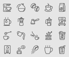 kaffe linje ikoner set vektor