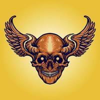läskig skalle med horn, vingar vektor