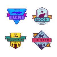flugörn och jägare, måne och berg set logotyp vektor