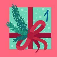 Weihnachtsgeschenk in der flachen Vektorillustration des Geschenkpapiers vektor