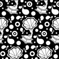 grammofon retro silhuett sömlösa mönster